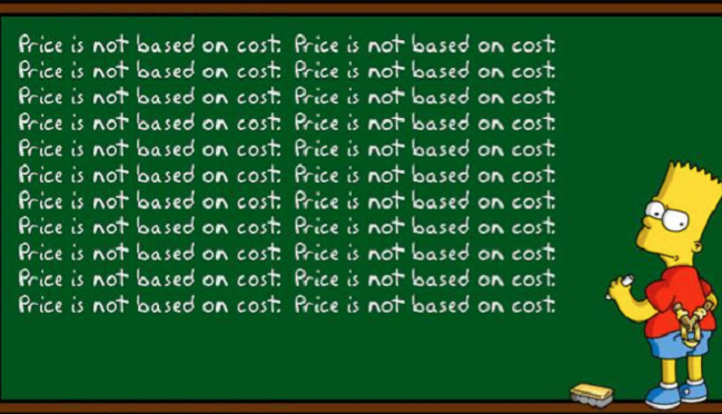 price is not based on cost